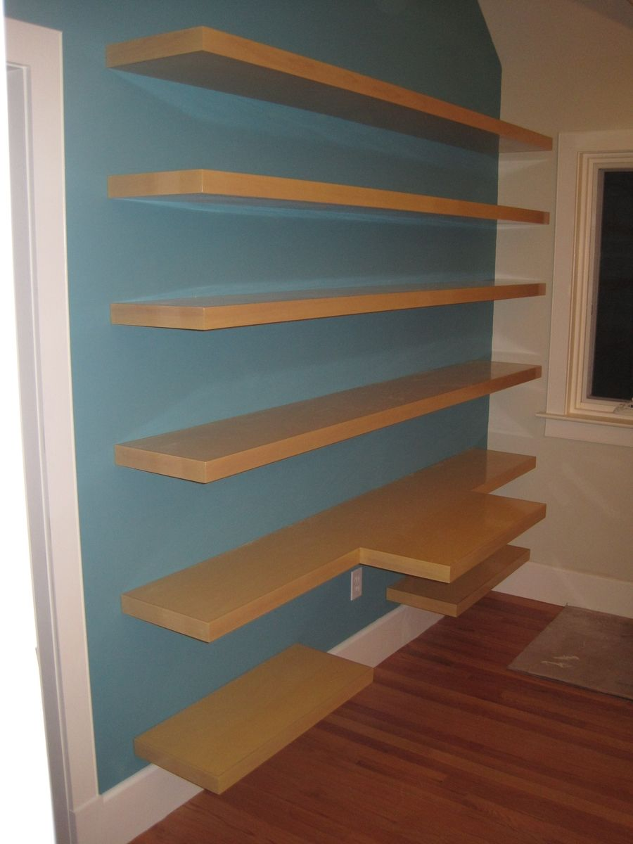 Custom Wall Shelving And Desk Top By Summerwood Woodworks