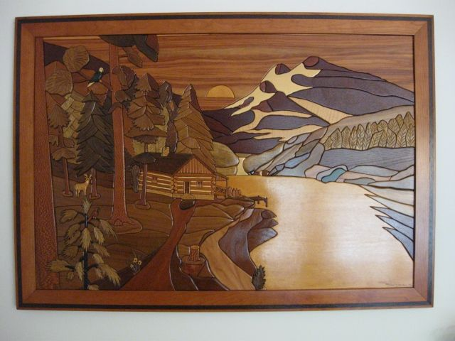 Hand Crafted Framed Intarsia Sunset Valley By Woodworking Plus