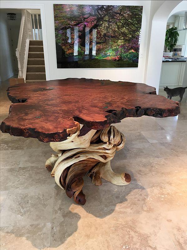 Custom Made Large Bar Bistro Liveedge Redwood Slab Juniper