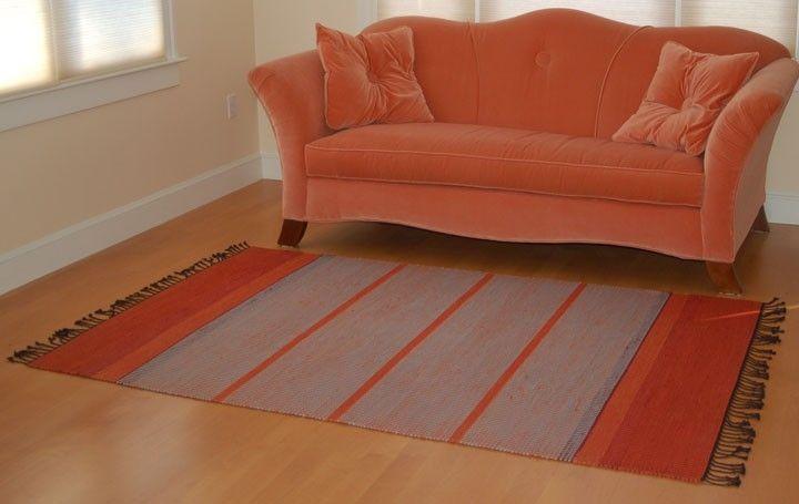 Custom Hand Woven Orange Grey Rug By Tarja Cockell