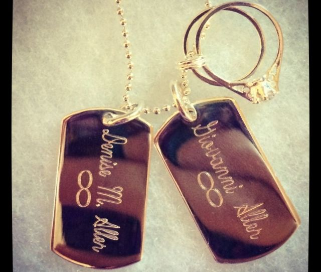 Custom Made Custom Dog Tag Charm Necklace With Engagement Wedding Ring Charms In Sterling Silver