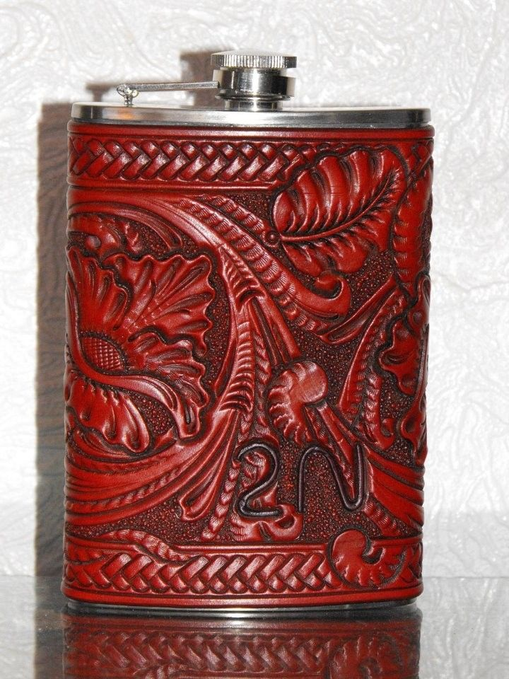 Handmade Carved Leather Flask By Clair Kehrberg Fine