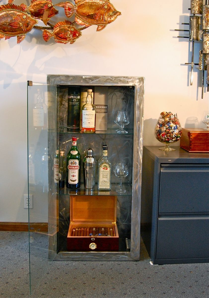 Hand Made Stainless Steel Liquor And Cigar Cabinet By Metal Expressions Ltd
