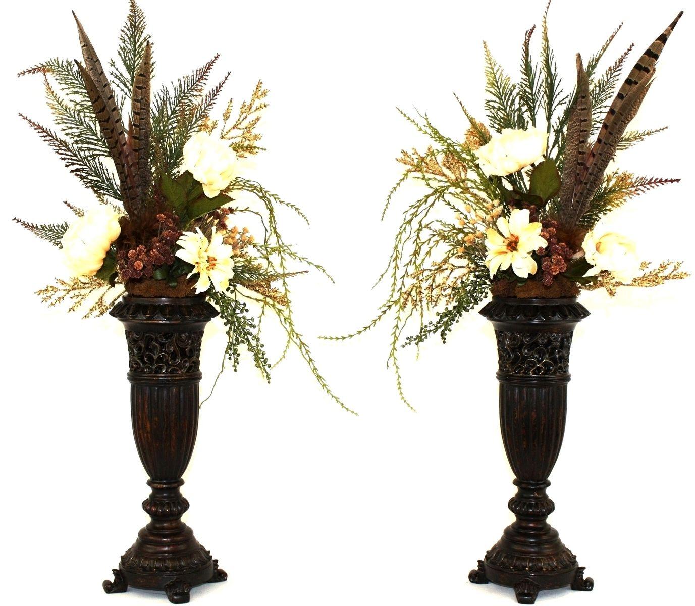 Hand Made Silk Flower Arrangement, Fireplace Mantel Decor ... on Decorative Wall Sconces For Flowers Arrangements id=34843