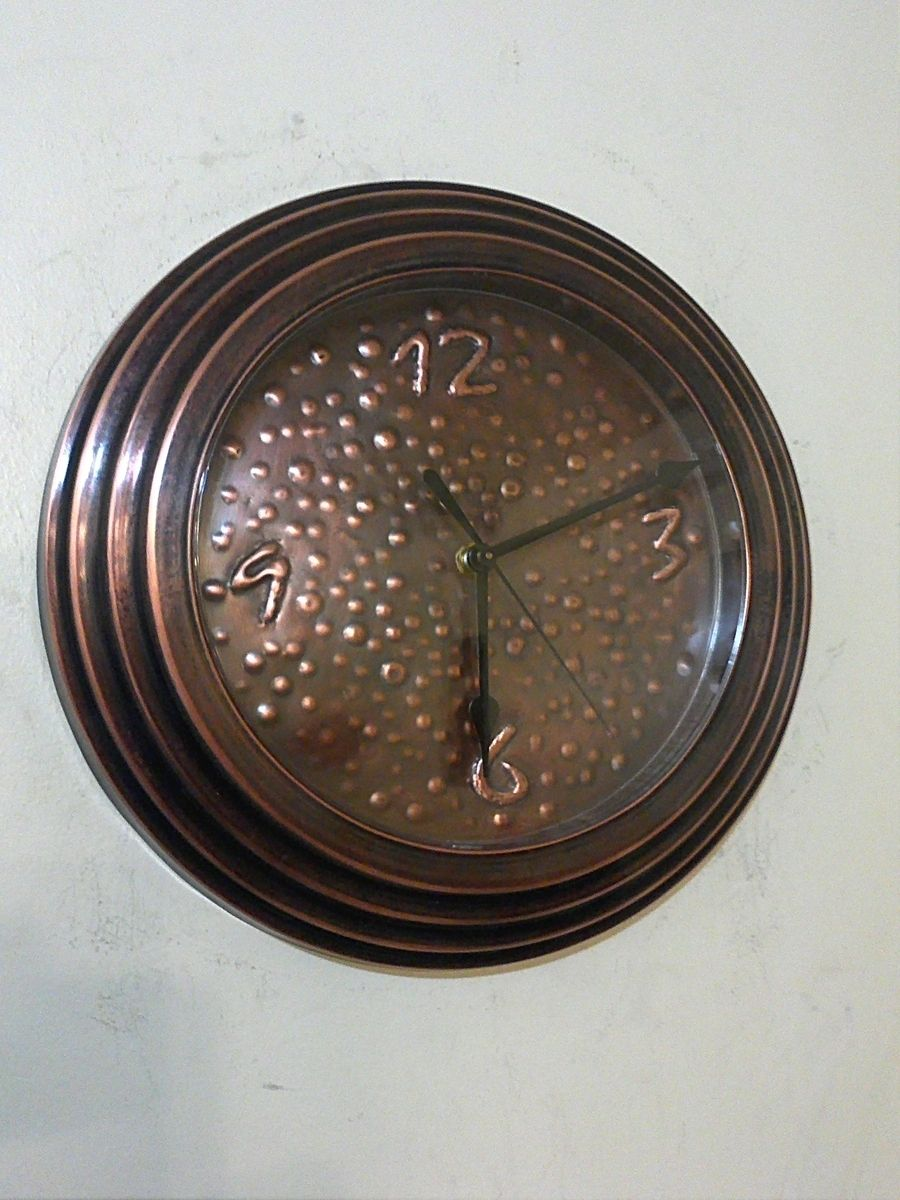 Custom Made Hand Hammered Patina Copper Wall Clock By