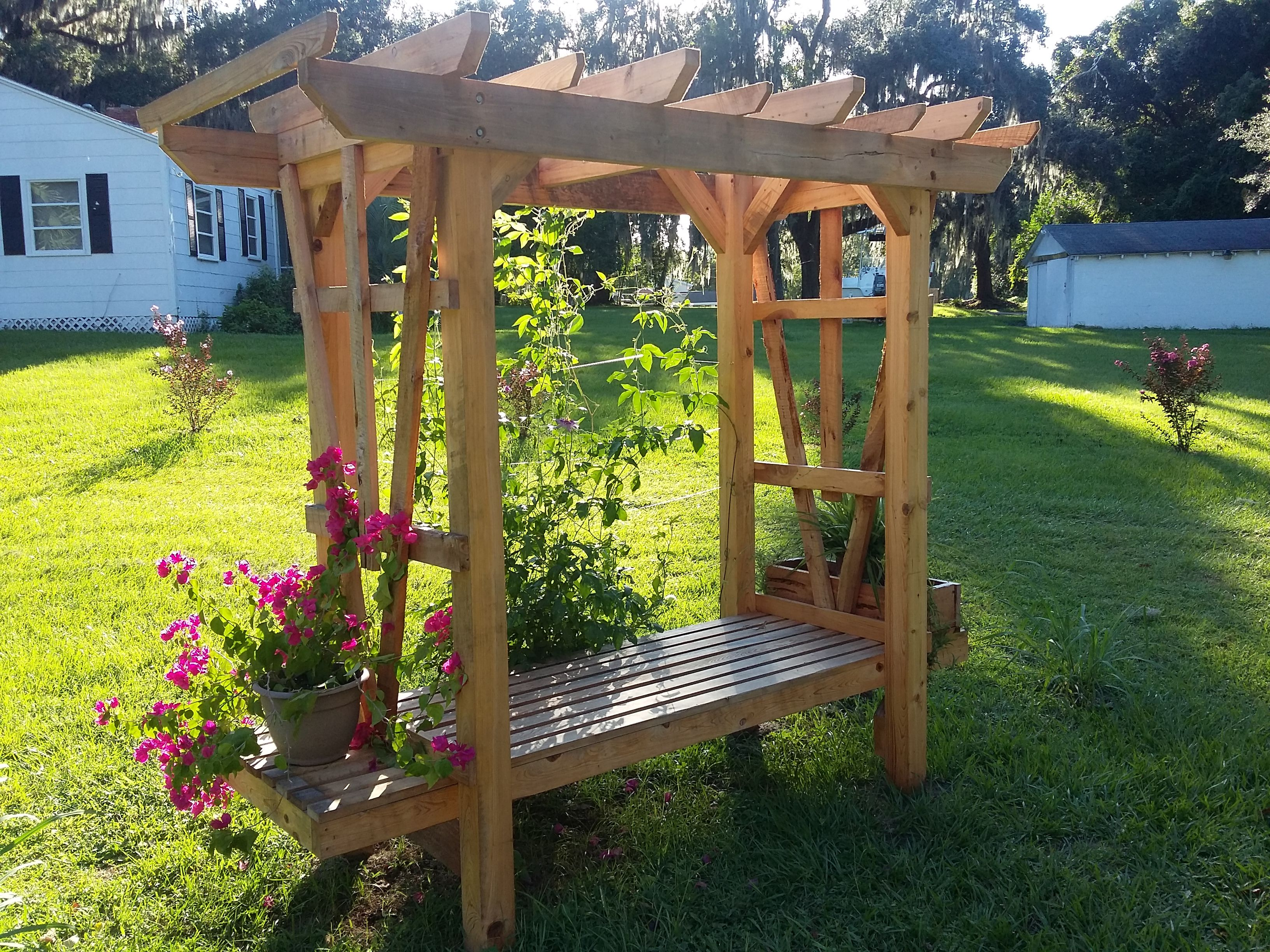 Buy A Hand Crafted All Cypress Arbor With Cedar Planter