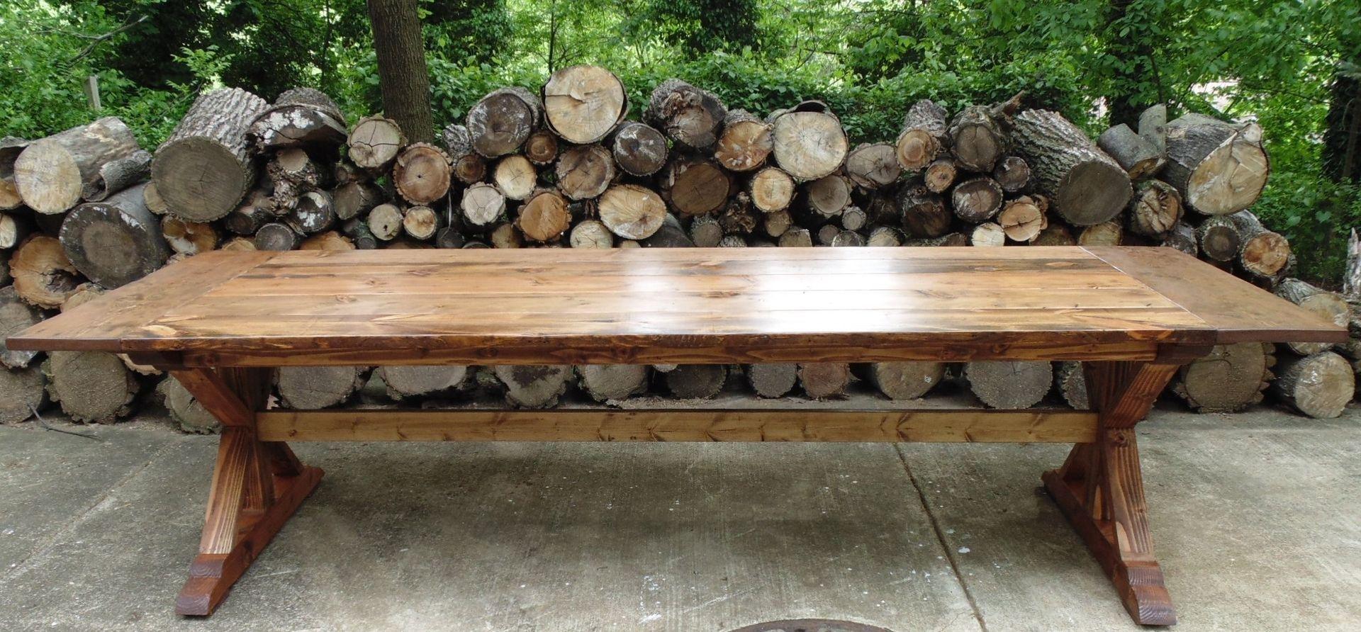 Handmade Reclaimed Wood Trestle-X Style Farmhouse Table By
