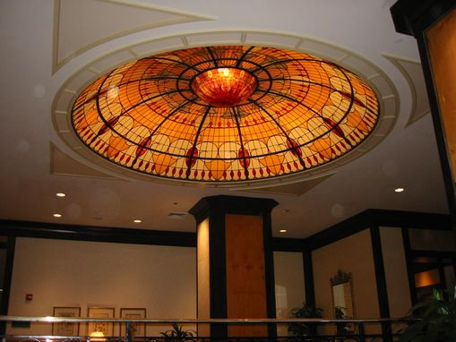 Handmade Illuminated Stained Glass Domed Ceiling In The