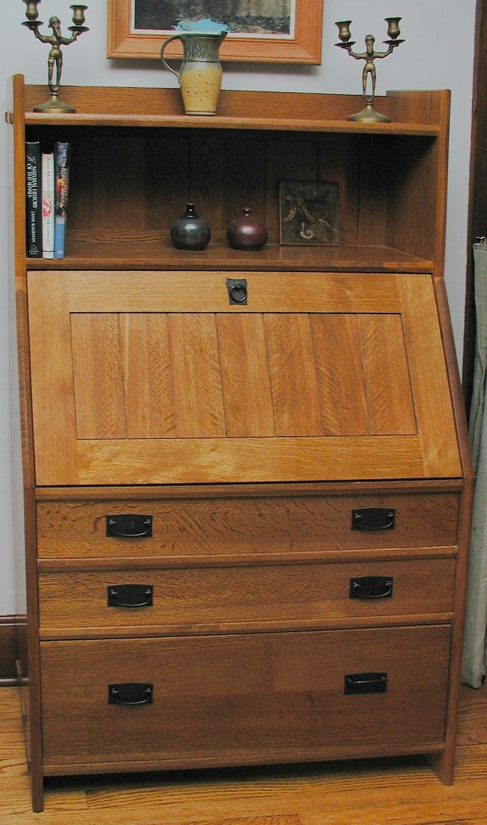 Hand Crafted Arts Amp Crafts Fall Front SecretaryDesk By