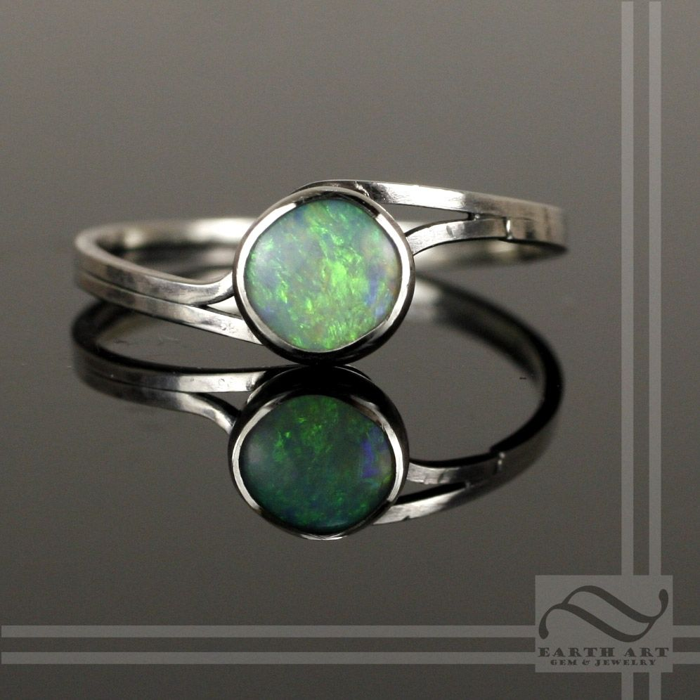 Buy A Hand Made Simple Opal Bypass Ring Made To Order