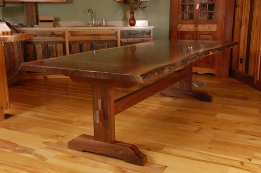 Hand Made Live Edge Walnut Slab Trestle Dining Table By