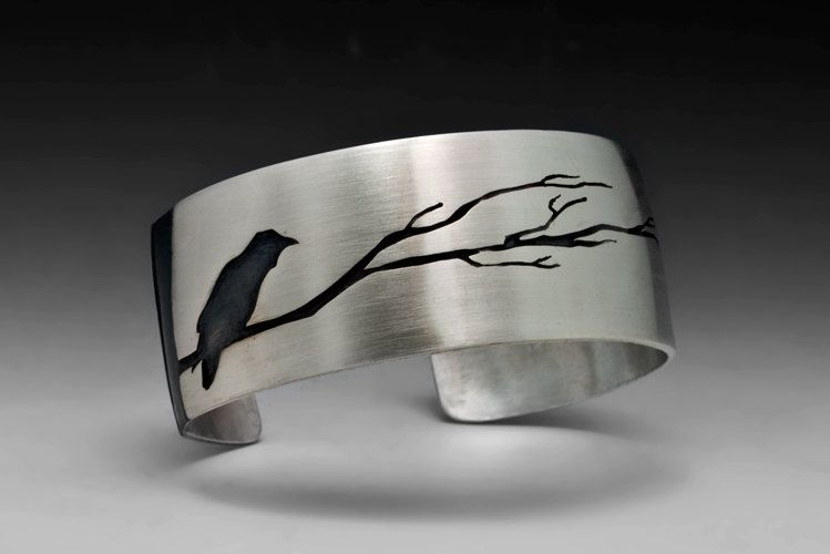 Hand Crafted Raven Bracelet With Tree Sterling Silver
