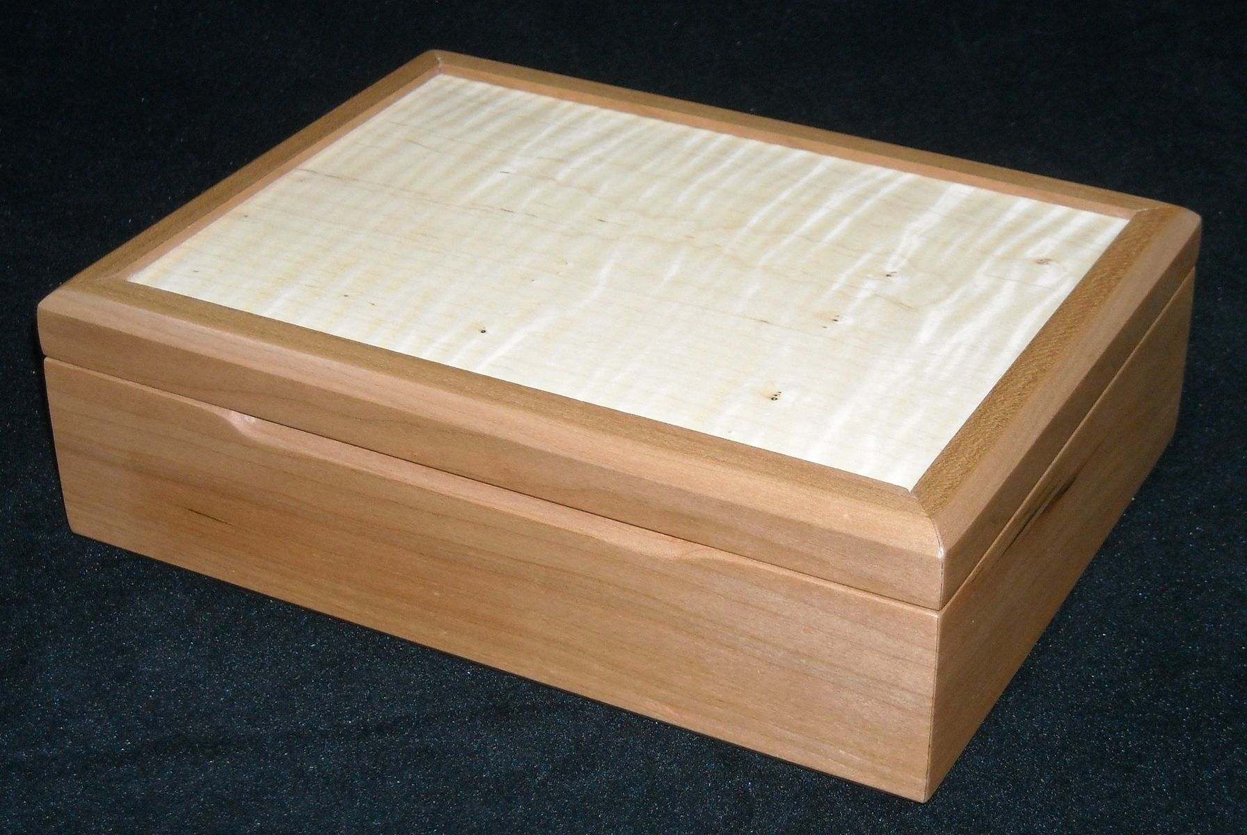Handmade Cherry And Curly Maple Jewelry Box By Mitchell