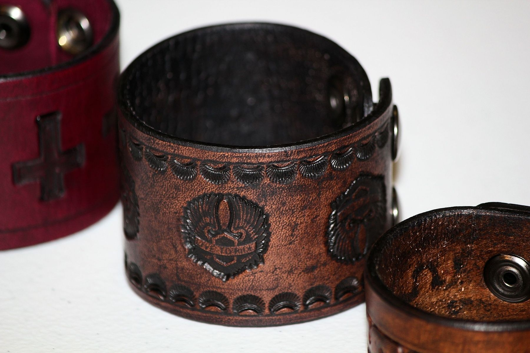Hand Crafted Live To Ride Wings Custom Leather Cuff