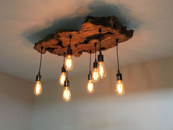 Custom Made Medium Live Edge Olive Wood Chandelier Rustic And Light Fixture