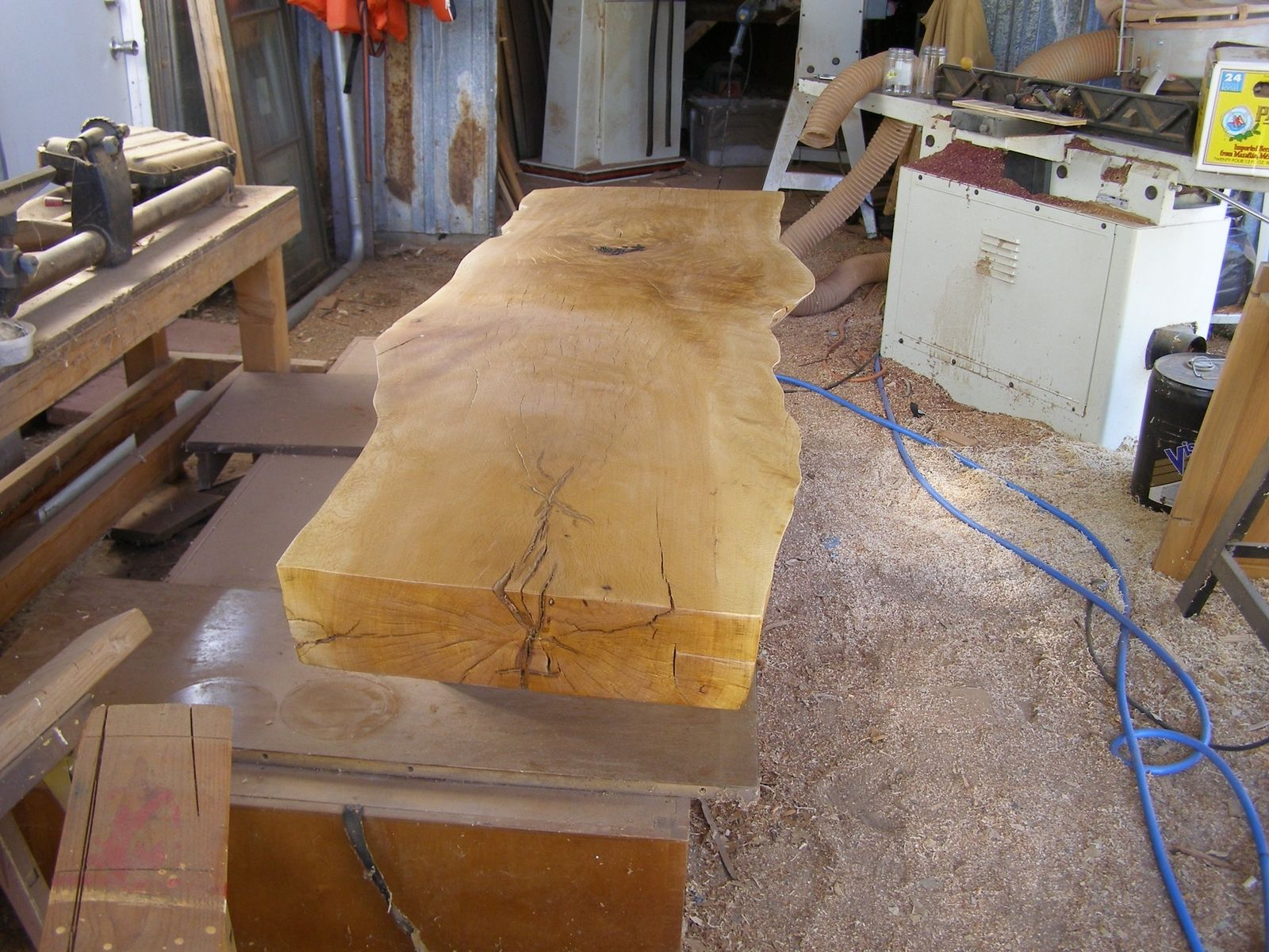 hand made slab oak coffee table for
