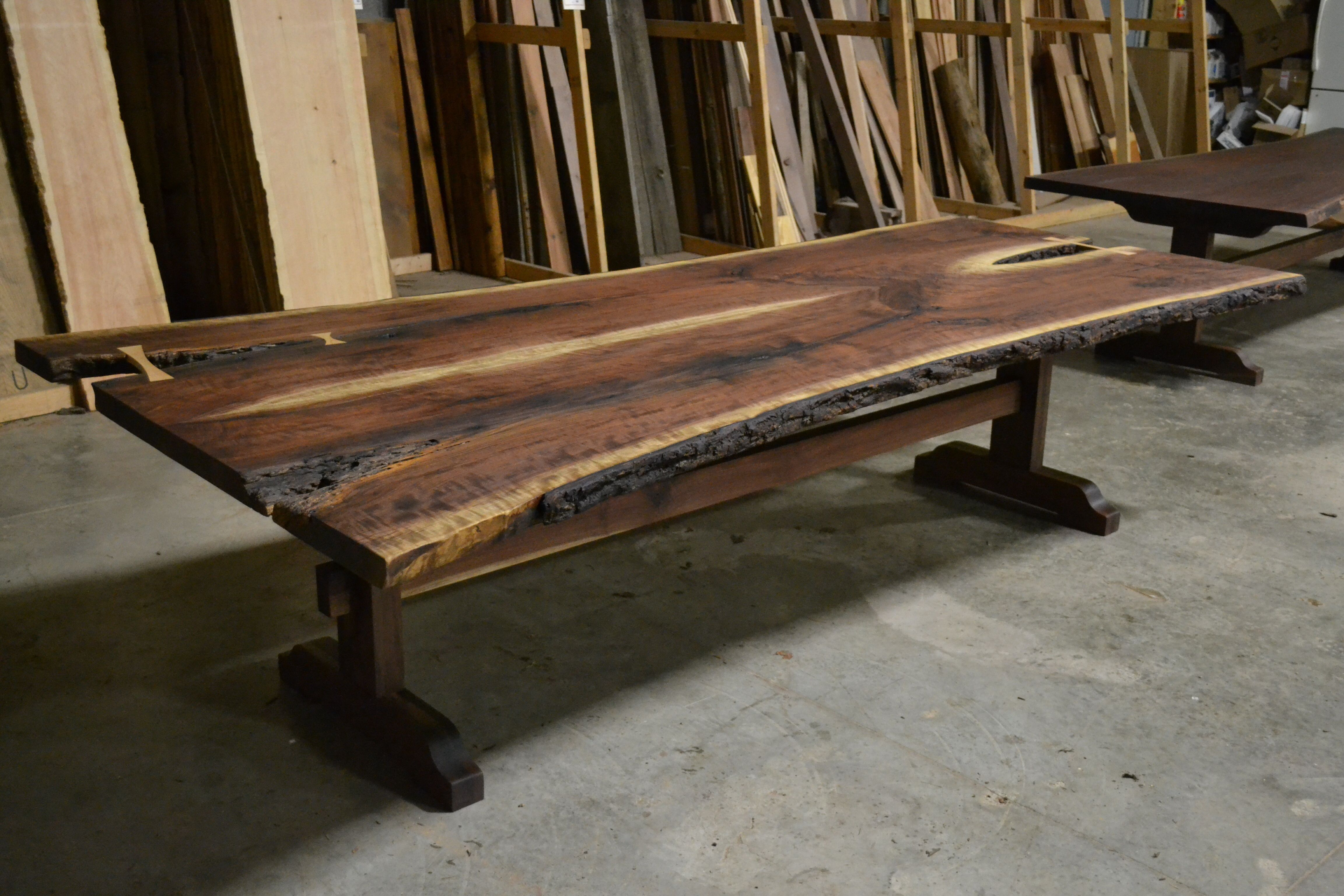 Buy A Hand Made Live Edge Bookmatched Walnut Table With