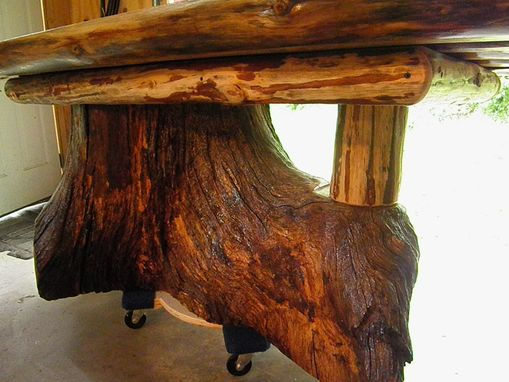 Custom Real Oak Tree Trunk Kitchen Dining Table One Of Our Current Projects By Old Farm Amish