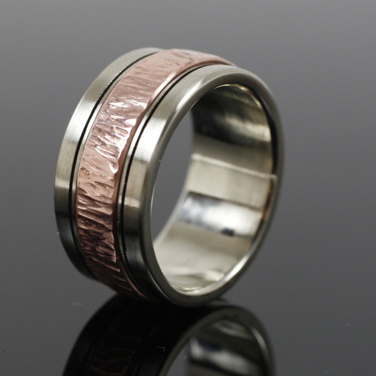 Hand Crafted Mens White Gold And Copper Wedding Band By