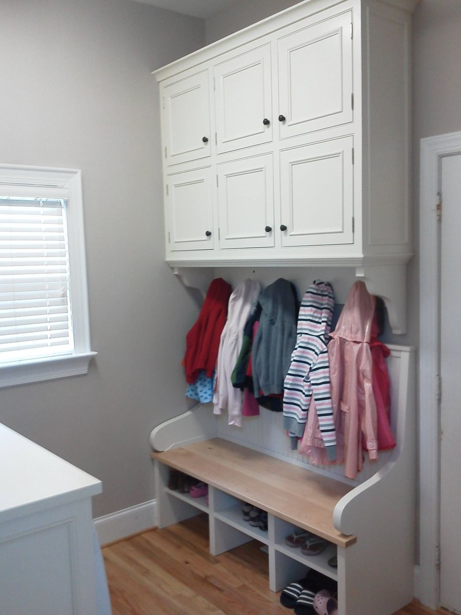 Hand Made Built In Laundry Room Cabinets And Bench By