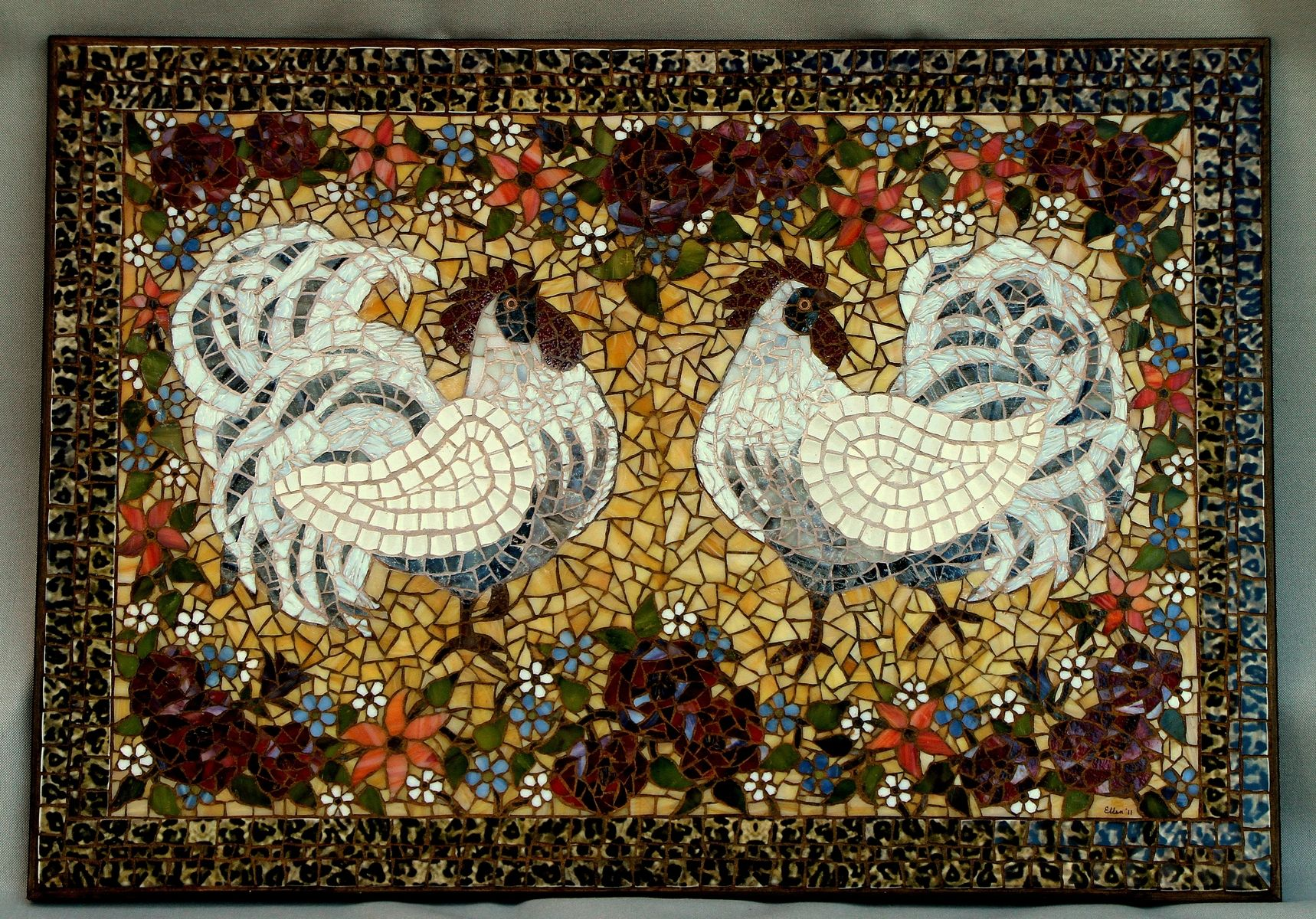 Handmade White Rooster Mosaic By Arc Designs By Ellen