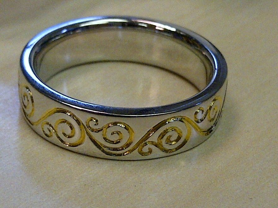 Hand Crafted Mens Floral Vintage Style Band Engraved Two