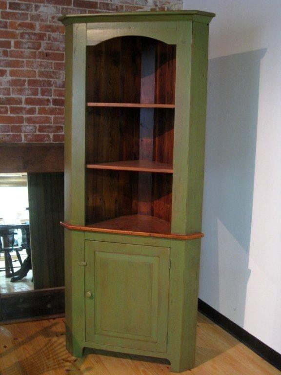 Custom Made Rustic Style Barn Wood Corner Cabinet By