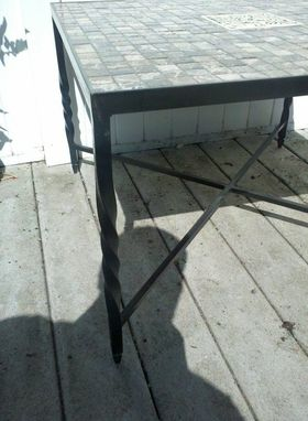 custom made slate tile coffee table by