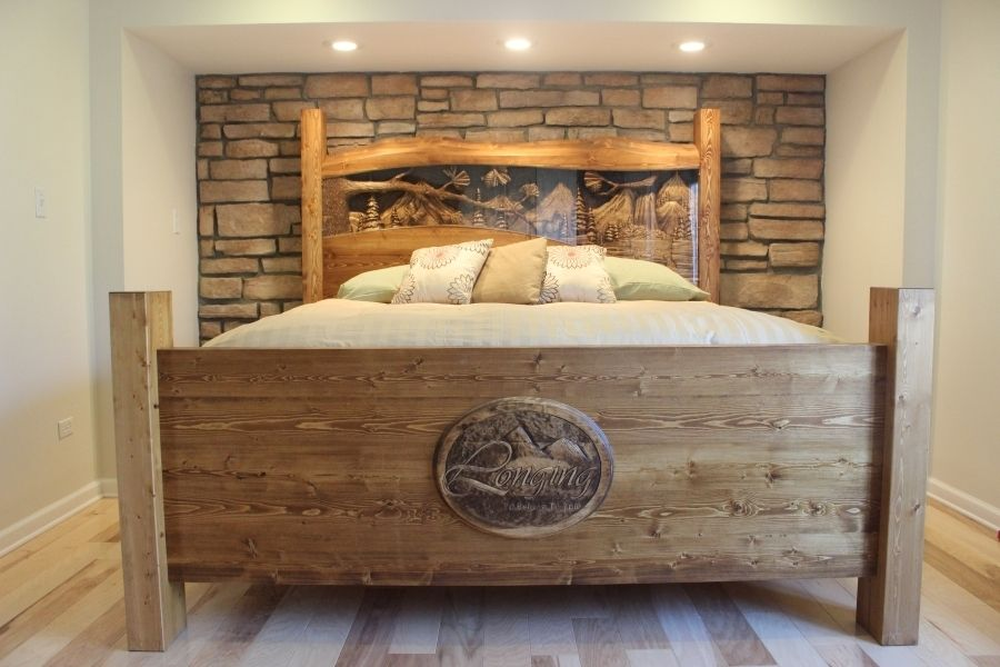 Hand Made King Size Headboard   Footboard  Waterfall   Pine Forest     Custom Made King Size Headboard   Footboard  Waterfall   Pine Forest Scene   Hand Carved