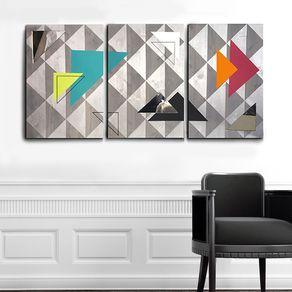Modern Wood Amp Metal Wall Art Geometric Reflection By