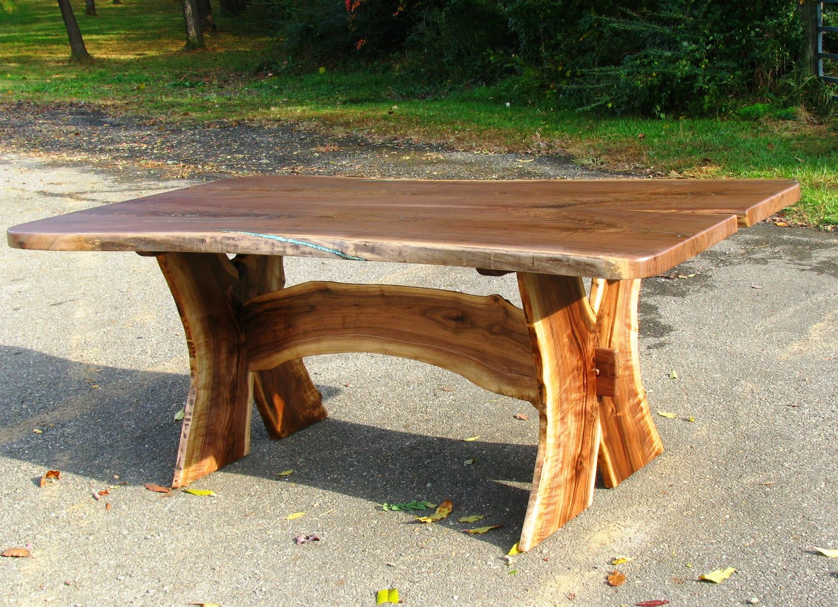Custom Slab Walnut Dining Table Turquoise Inlaid By