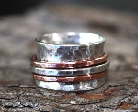 Buy A Hand Made Rustic Copper Amp Silver Spinner Ring 155