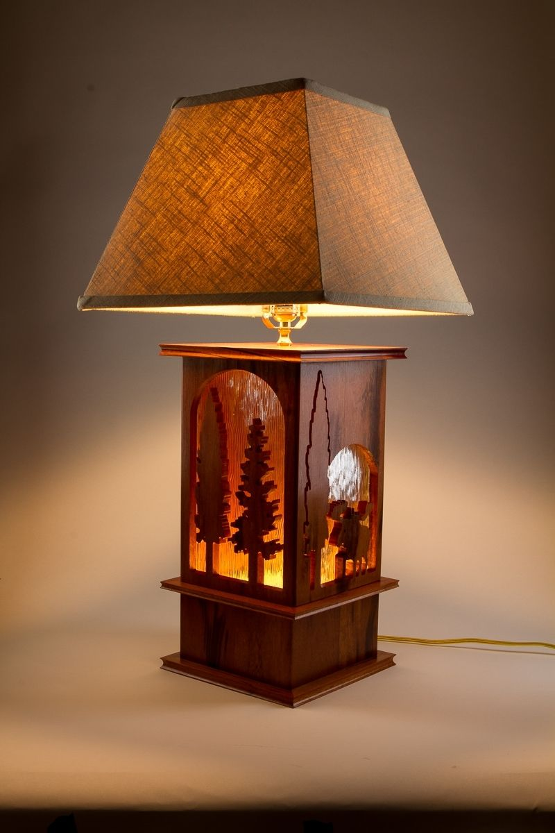 Hand Made Moose Lamp Tigerwood Carved 3 Way Table Lamp By