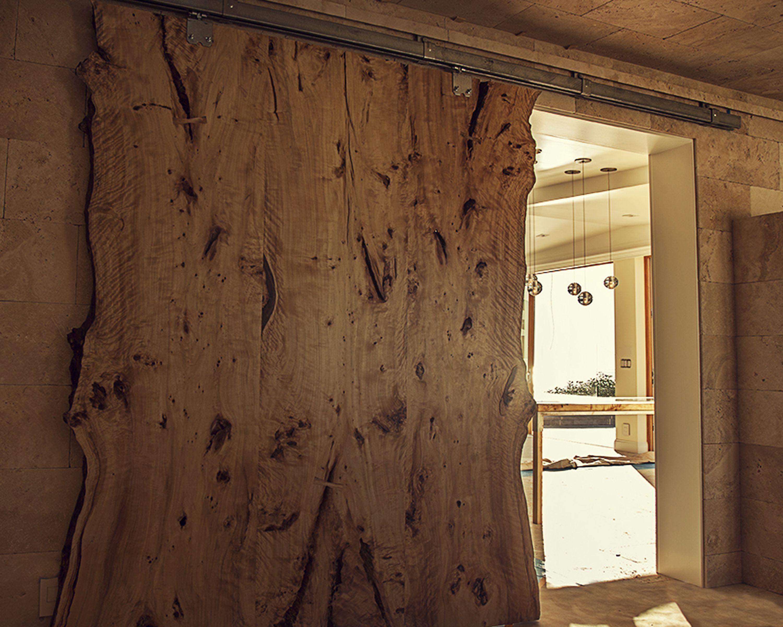 Custom Made Live Edge American Elm Slab Barn Door By Hawkandstone