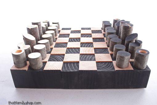 Buy Custom Made Modern Minimalist Rustic Chess Set Wood
