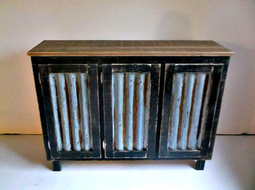 Buy Hand Crafted Rustic Bar Cabinet With Reclaimed Corrugated Metal Inserts Made To Order From