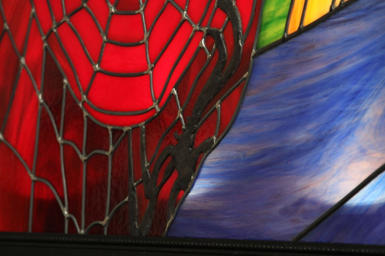 Handmade Spiderman Leaded Stained Glass Art Back Lit With