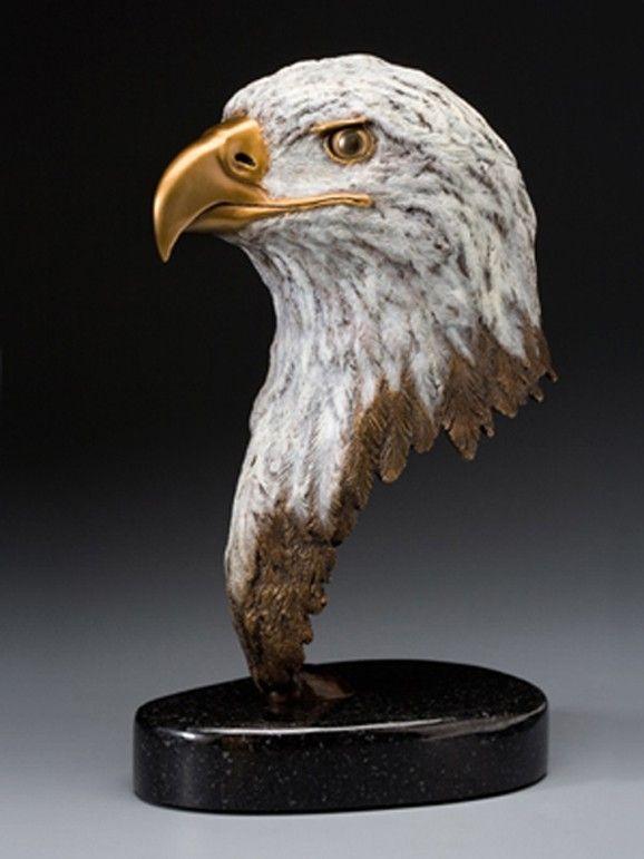 Hand Made Bald Eagle Bronze Sculpture By Castart Studio