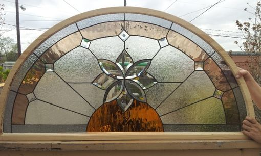 Handmade Stained Glass Arched Window Beveled Flower W