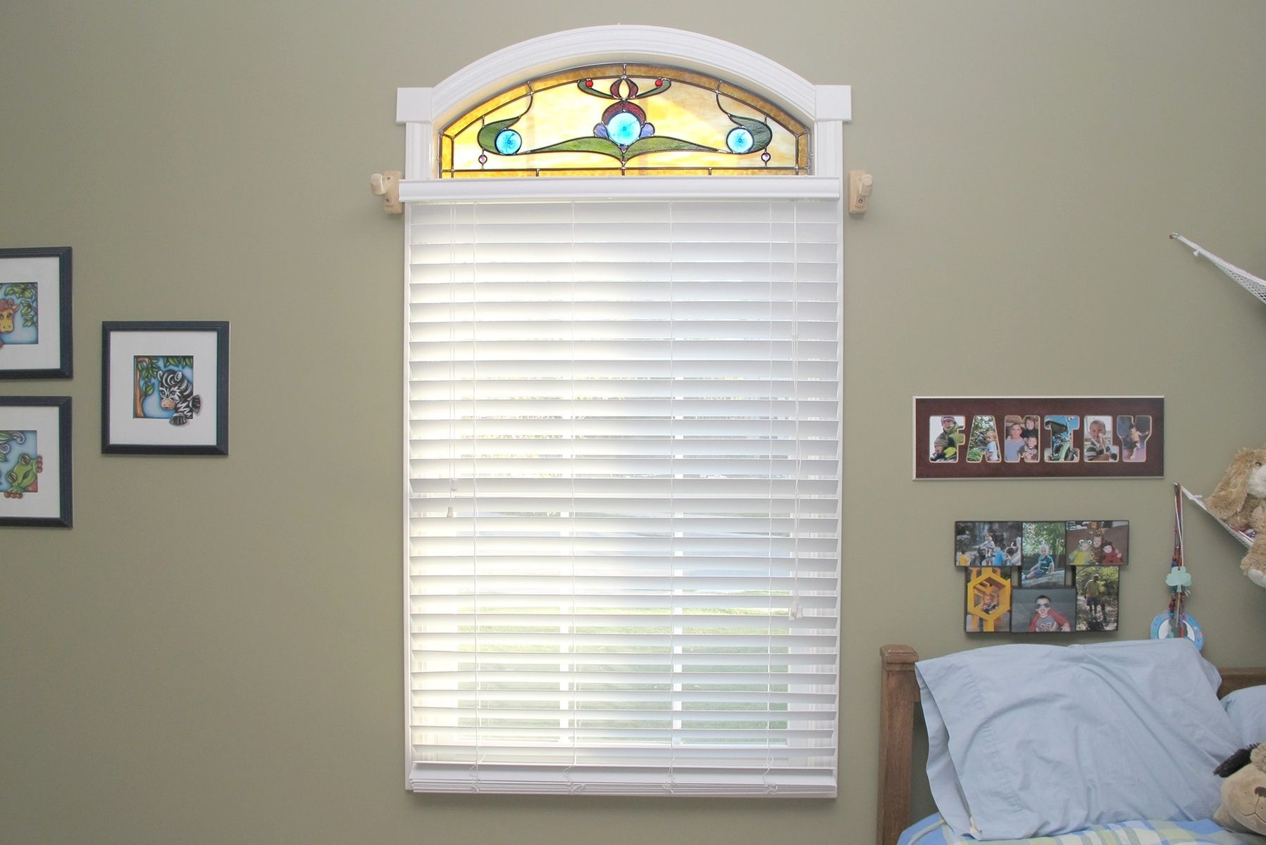 Handmade Arched Stained Glass Bedroom Window By Painted