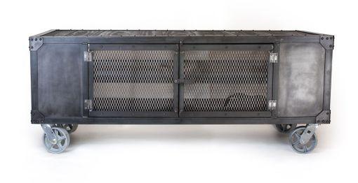 Handmade Rolling Steel Media Cabinet, Industrial