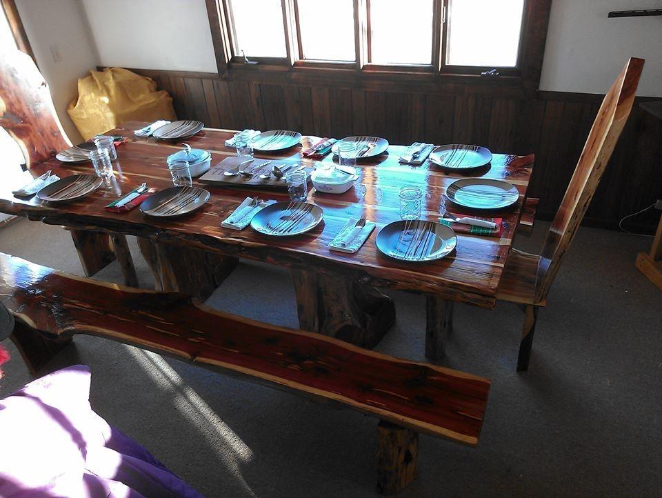 Custom Live Edge Cedar Dining Table Set By Cedar Furniture Lodge