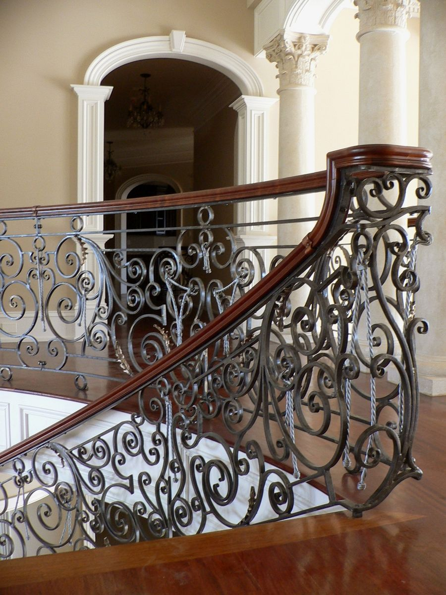 Hand Crafted Exquisite Hand Forged Railing For Curving