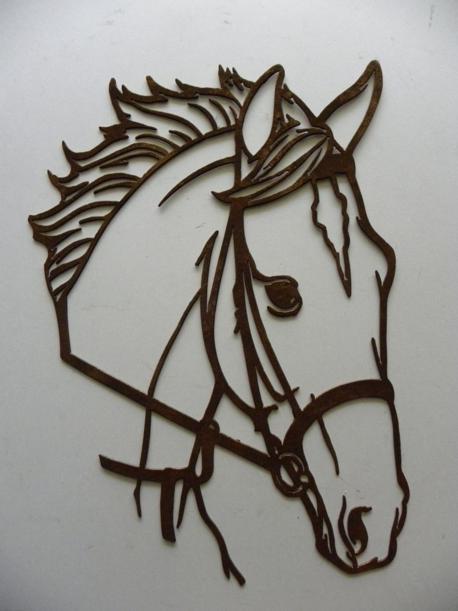 Hand Crafted Horse Head Metal Wall Art Country Rustic Home