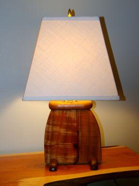 Hand Made Hawaiian Koa Wood Art Deco Slab Table Lamp By