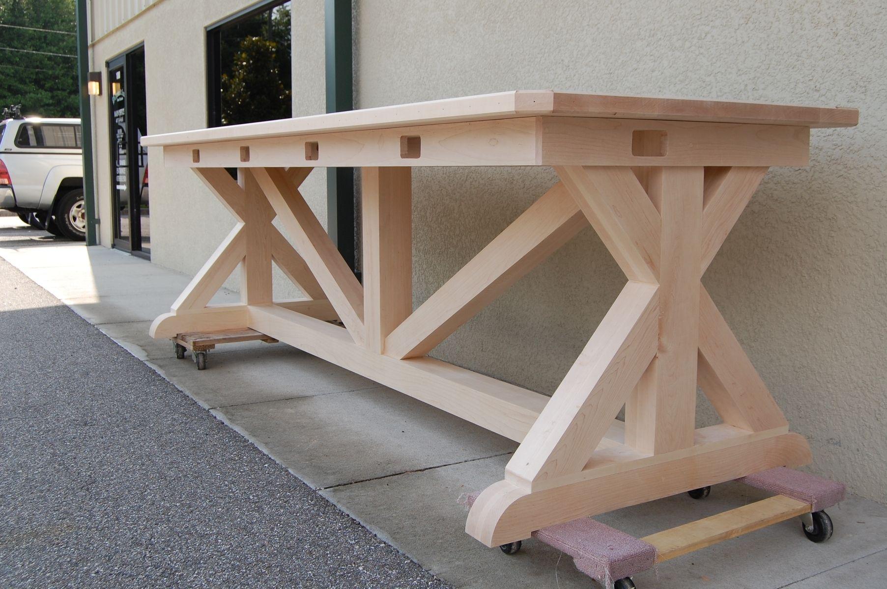 Handmade Trestle Table By Gleman Amp Sons Custom Woodworks