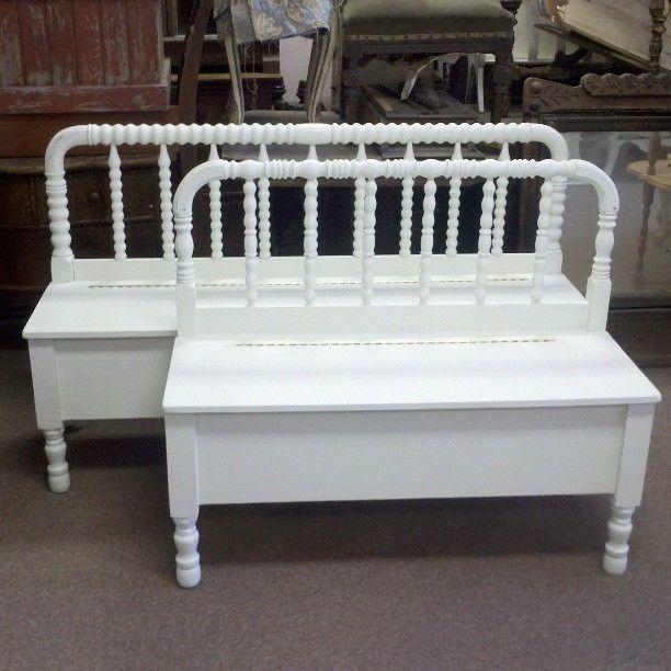 handmade spool headboard bench with storageplaying on the