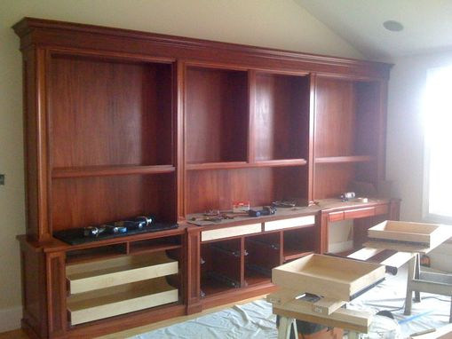 Hand Made Traditional Mahogany Wall Unit Home Office Desk By G B Woodworking