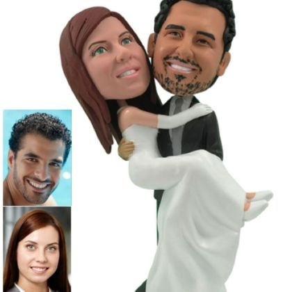 Custom Wedding Cake Toppers and Centerpieces   Unique  Personalized     Personalized Wedding Cake Topper Of A Groom Carrying The Bride by Pablo Bran