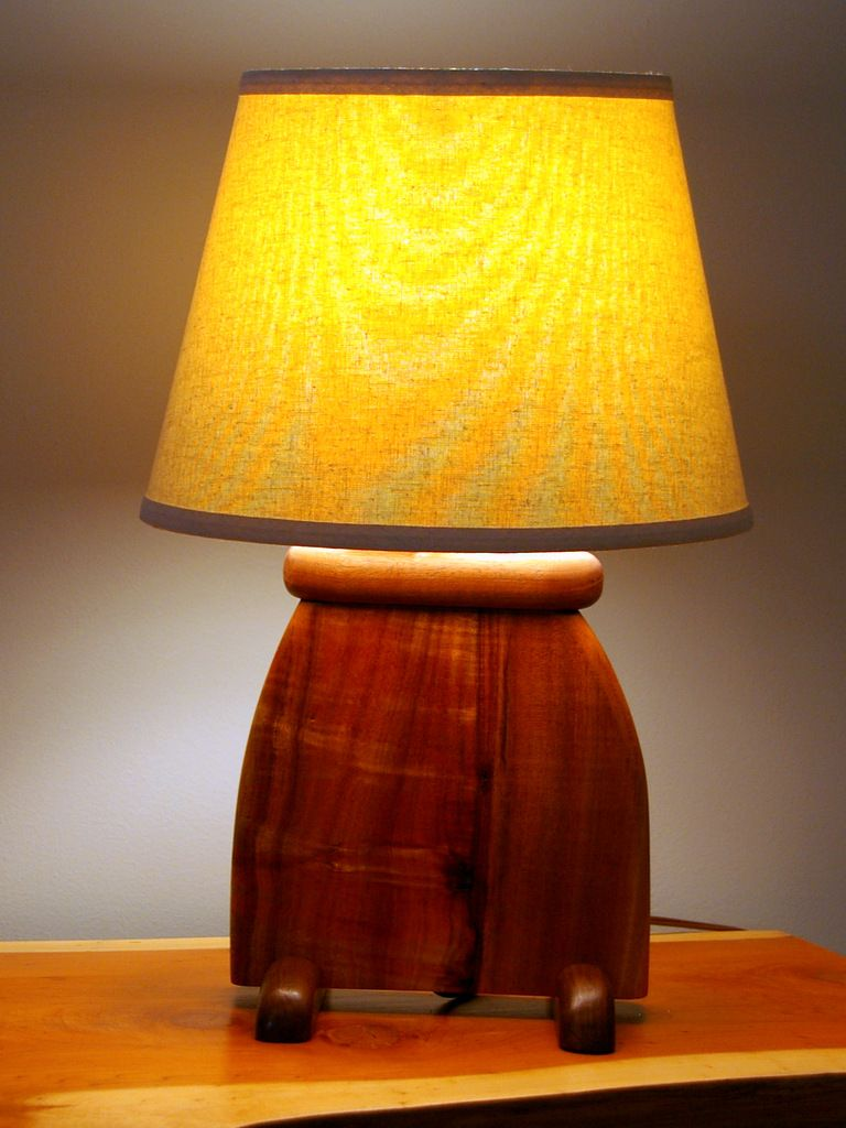 Hand Made Hawaiian Koa Wood Art Deco Slab Table Lamp By Puffball Designs LLC